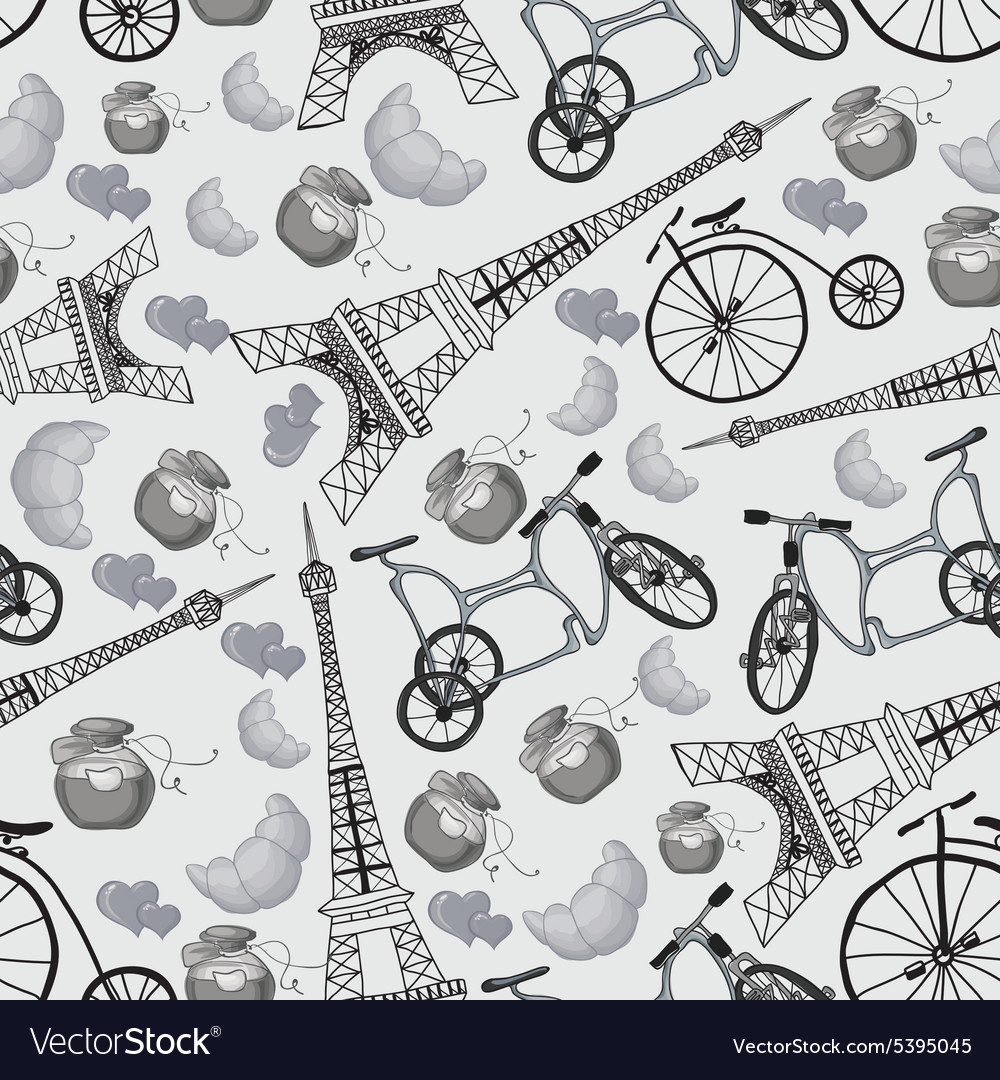 Pattern with the eiffel tower and bicycles