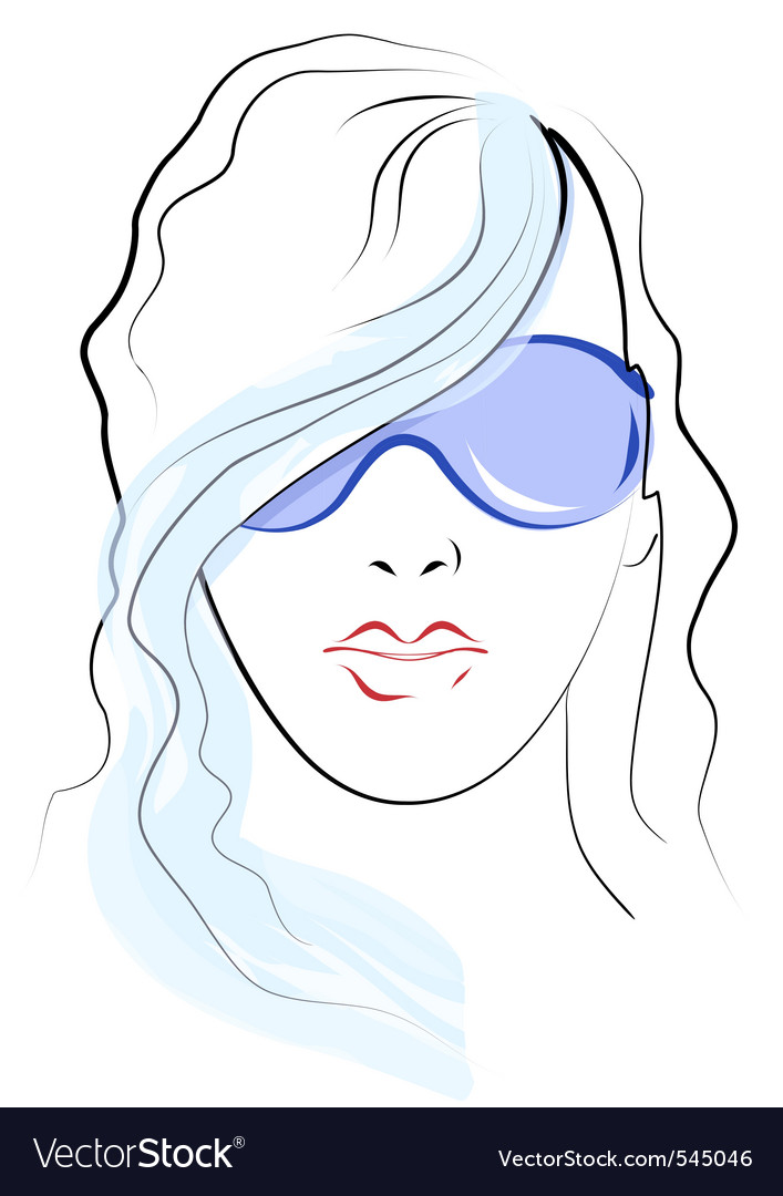Girl face sketch vector