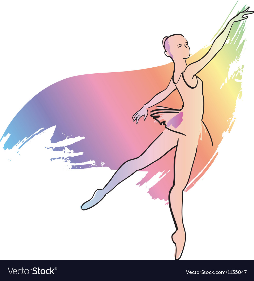 Woman dances ballerina vector