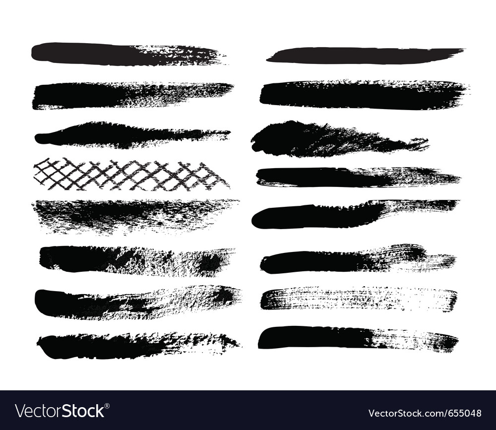 A collection of natural brush strokes vector