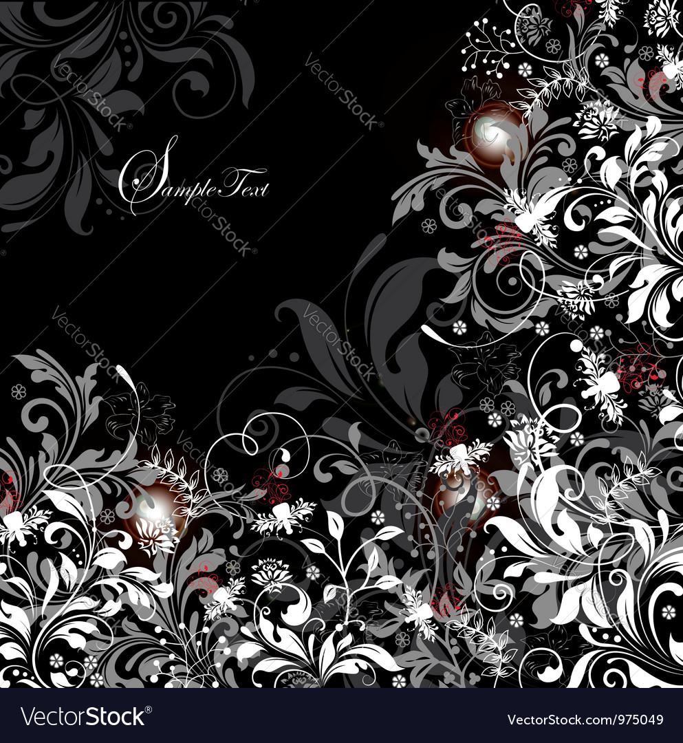 Floral card with white gray and red elements vector