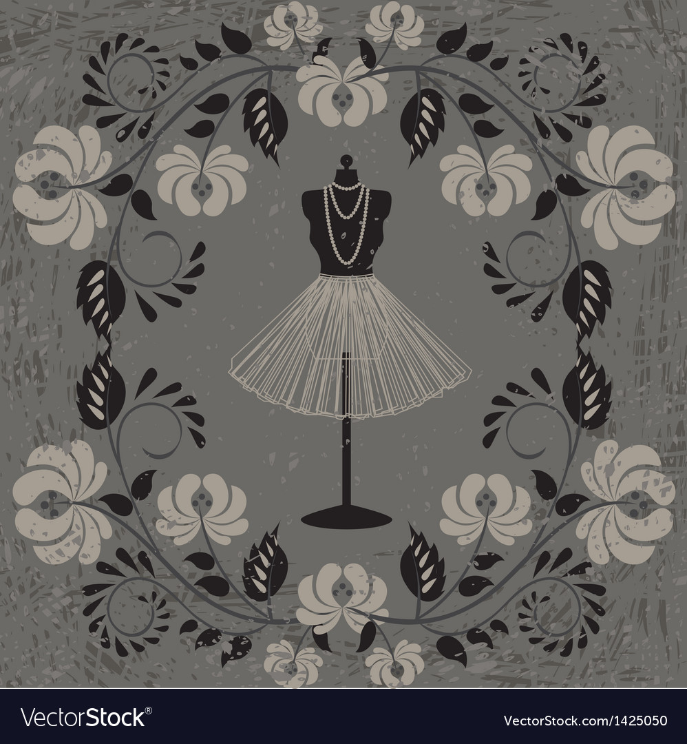 Mannequin and floral pattern vector