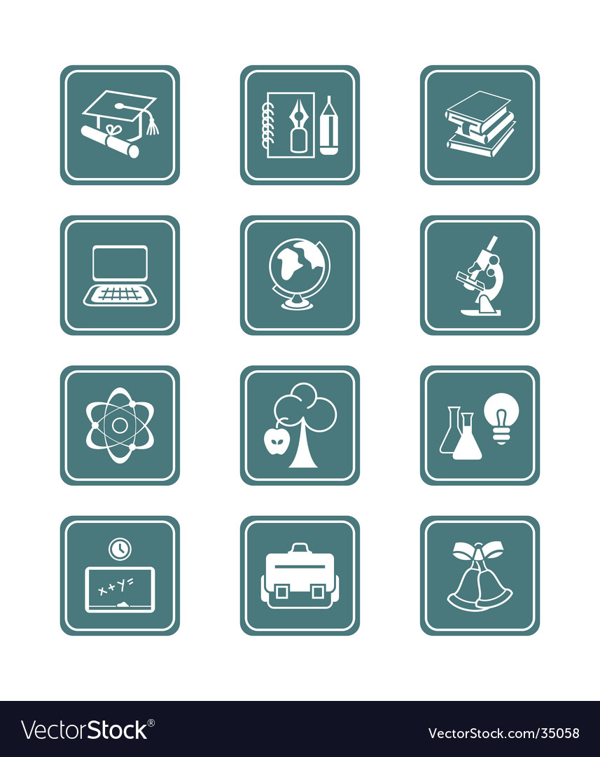 Education objects icons teal series vector