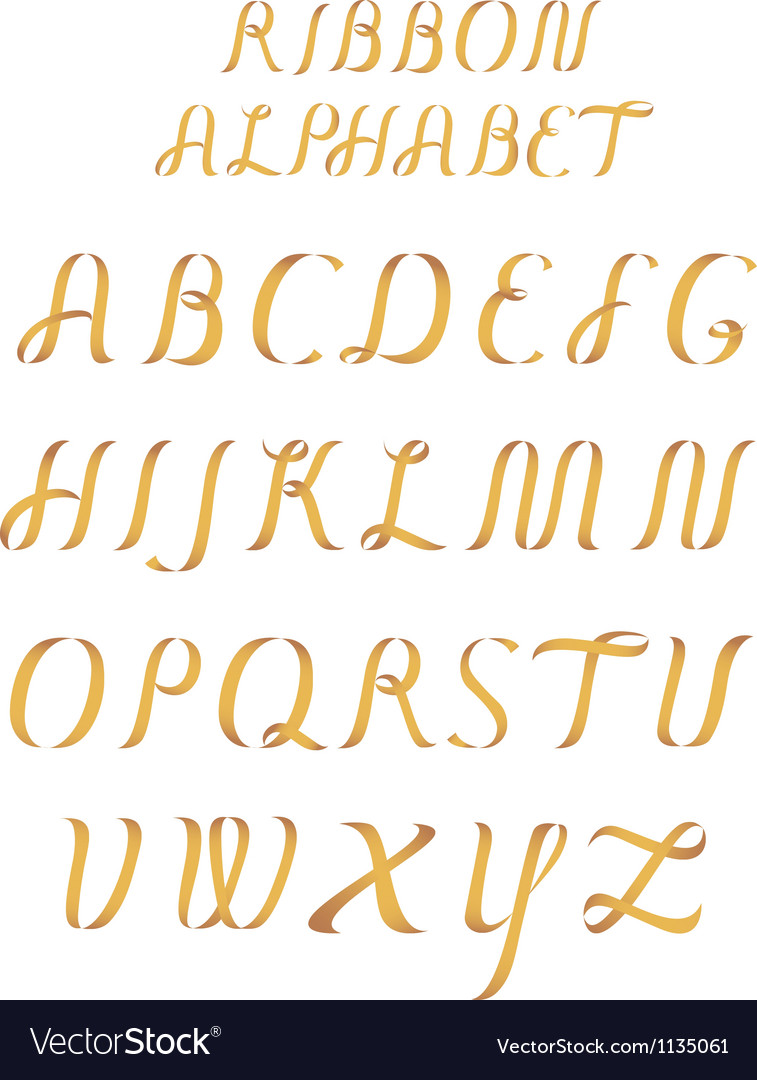 Ribbon alphabet vector