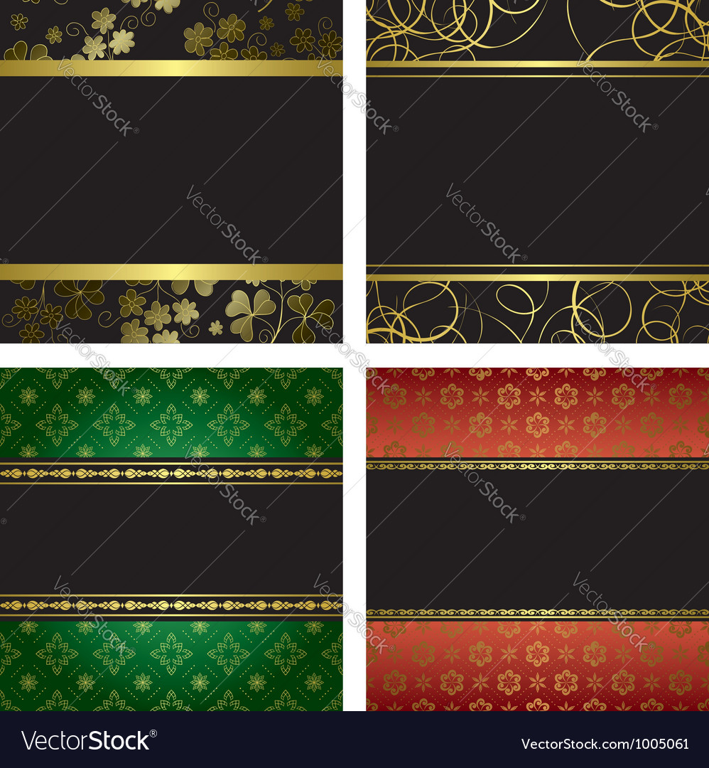 Set  black card with golden frames vector