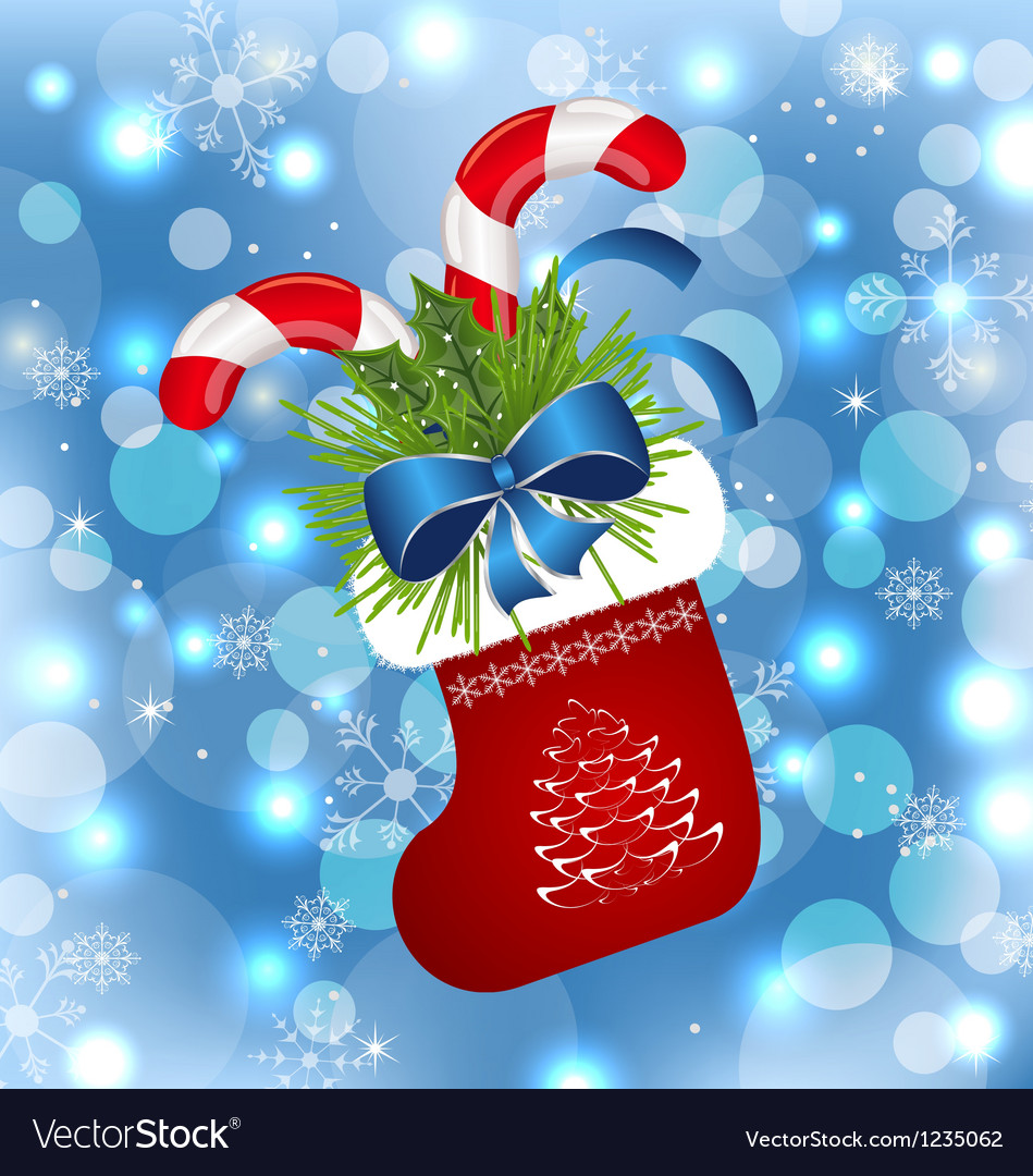 Christmas sock with sweet canes vector