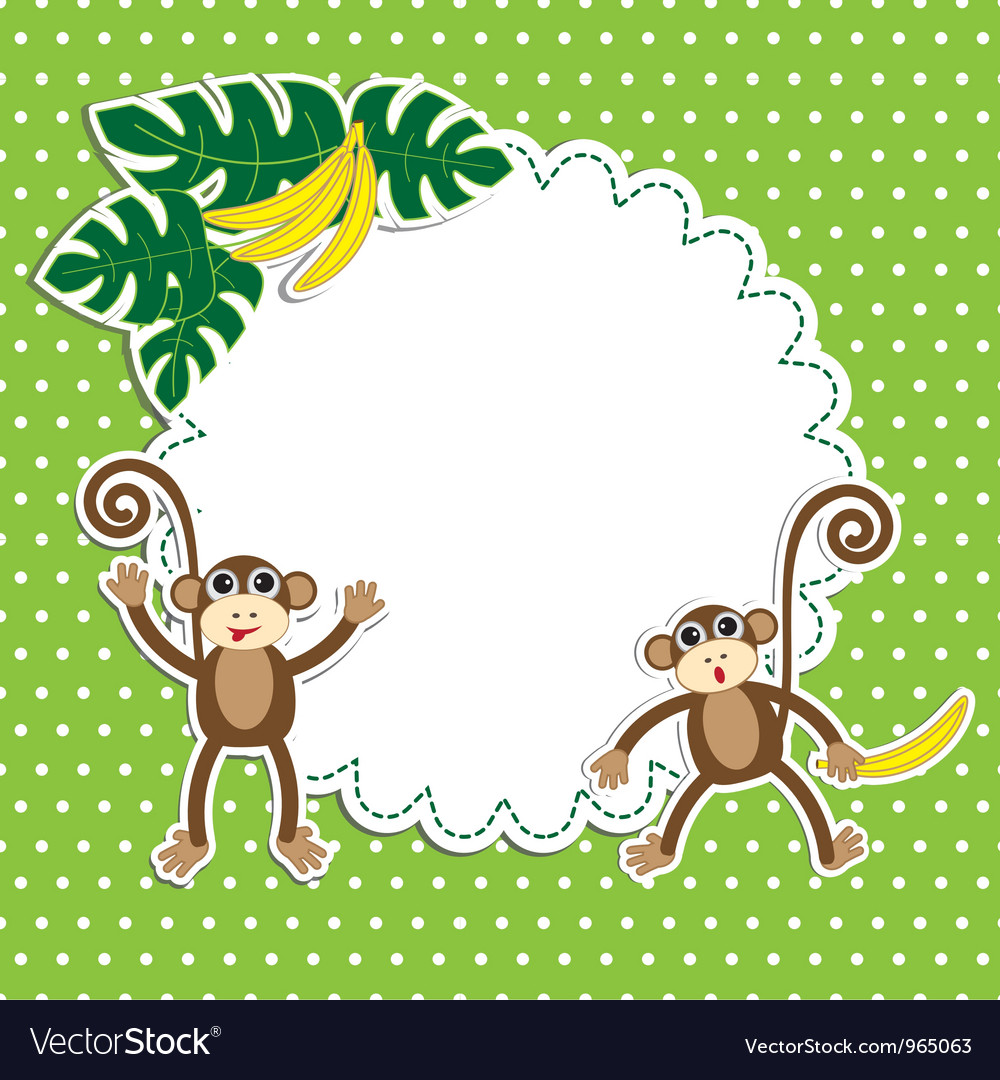 Frame with funny monkeys vector