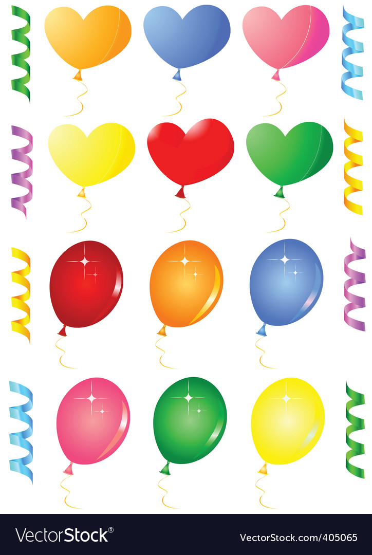Party balloons objects vector