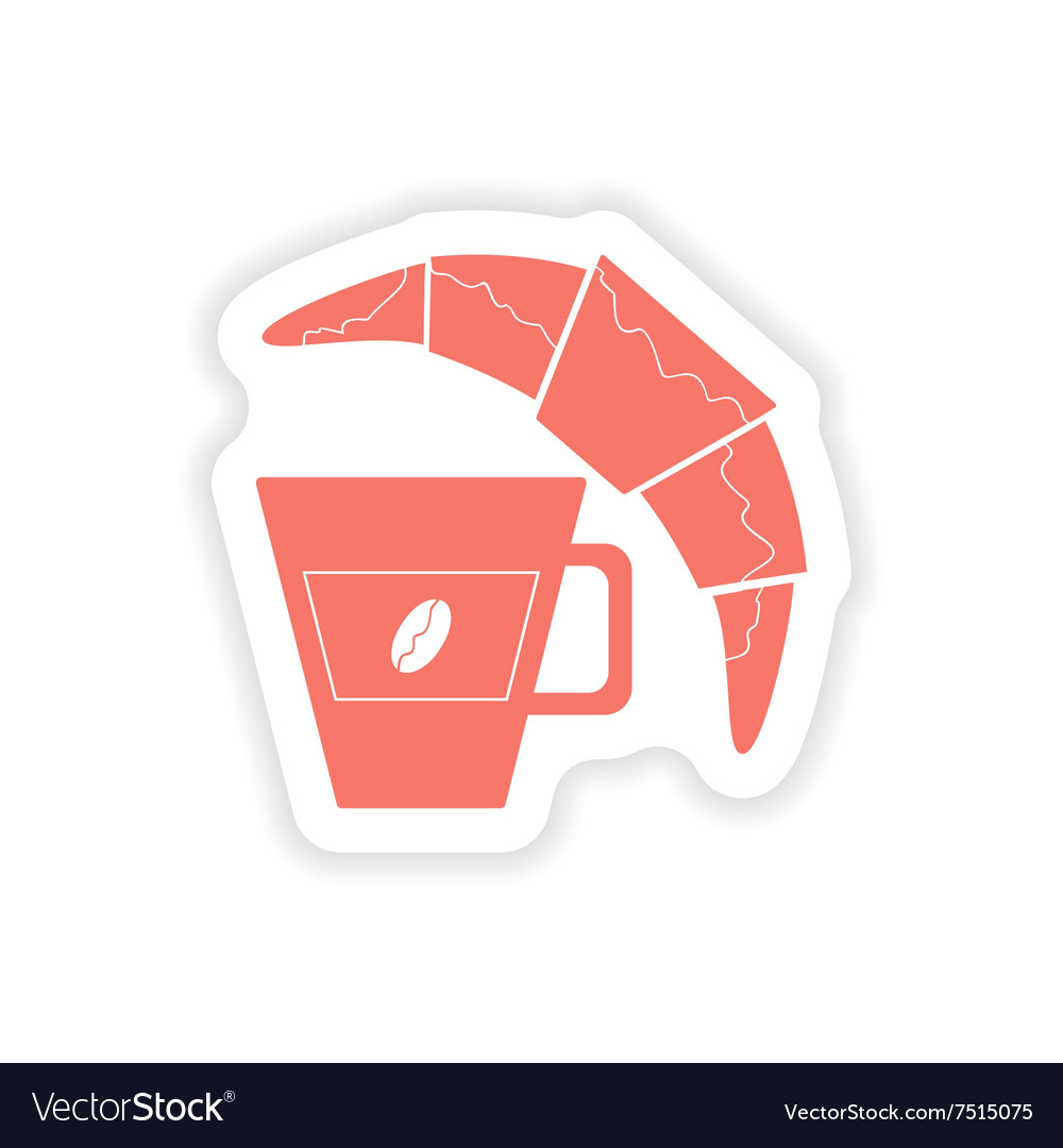 Paper sticker on white background coffee cup