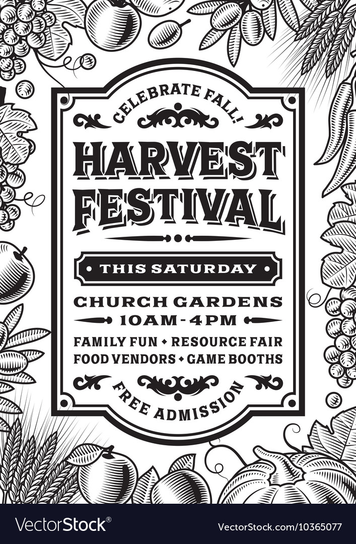 Vintage harvest festival poster black and white vector by iatsun ...: https://www.vectorstock.com/royalty-free-vector/vintage-harvest...