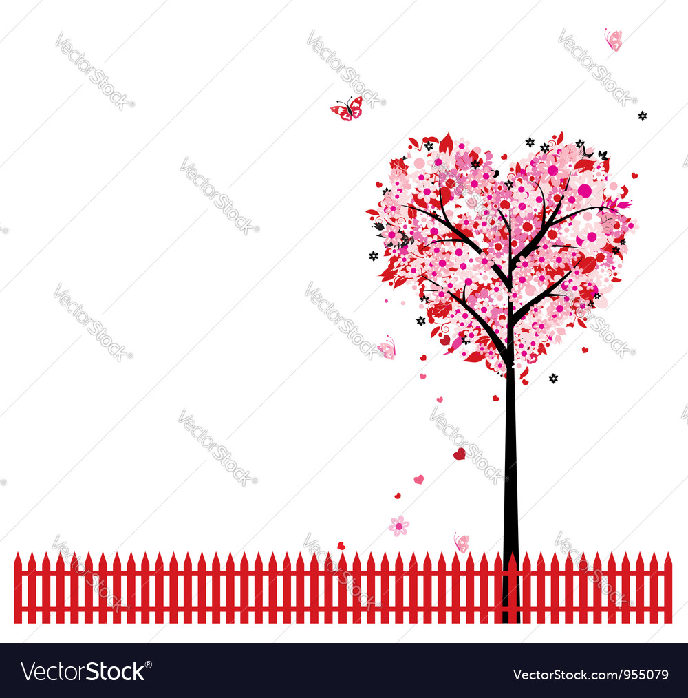 Heart shape tree background vector