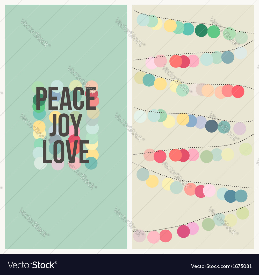 Peace love joy  multicolored christmas design vector