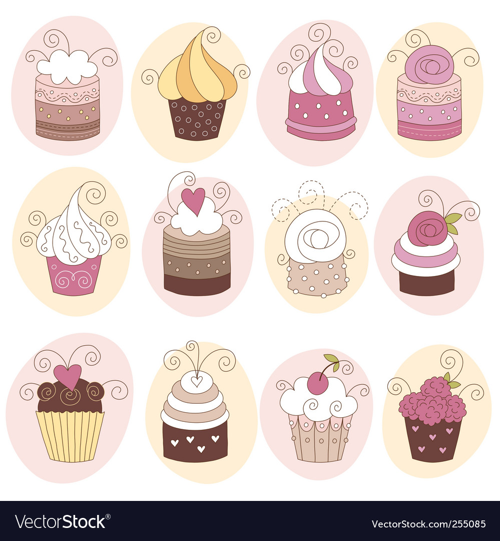 Set of cute cupcakes vector