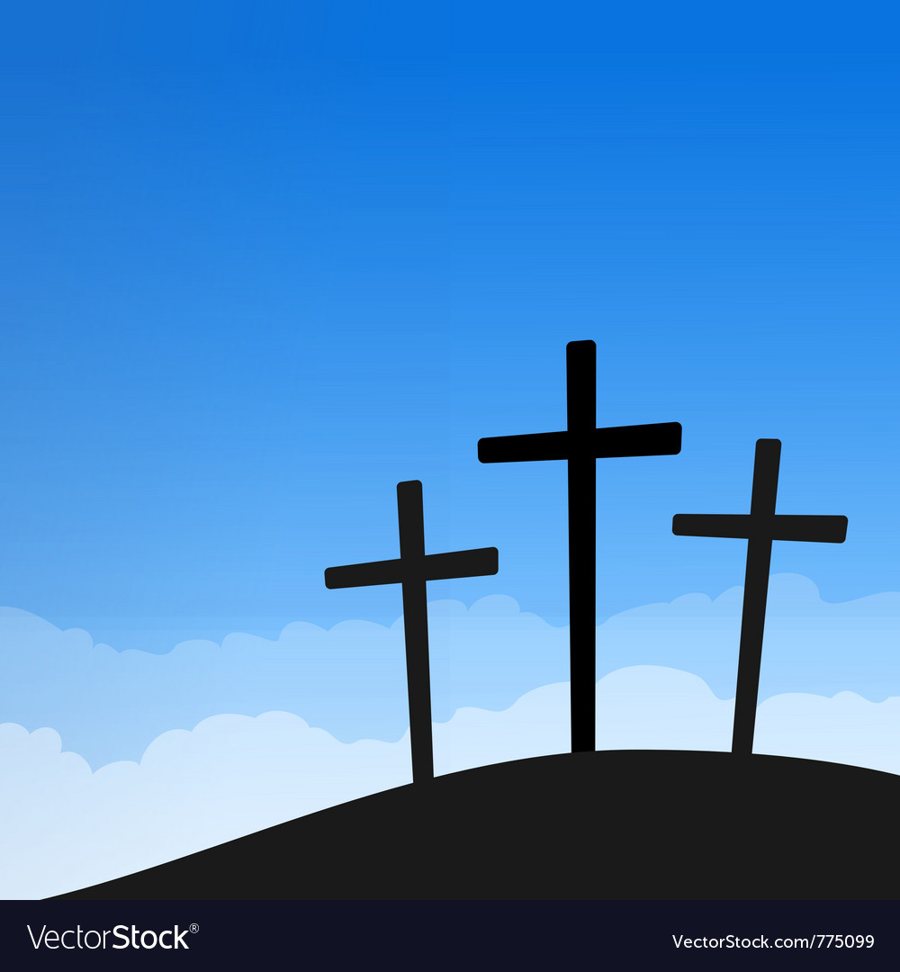 Three crosses on blue sky vector