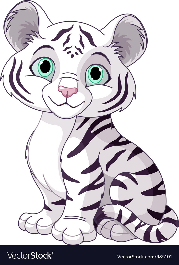 White tiger cub vector
