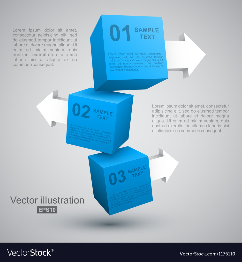 Three blue boxes with arrows 3d vector