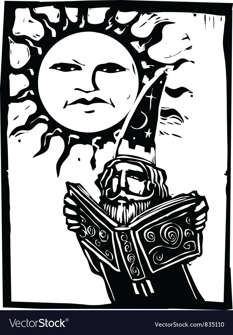 Wizard beneath a sun face vector