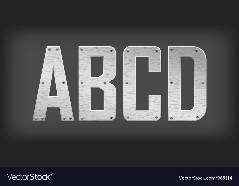 Metal letters and symbols vector