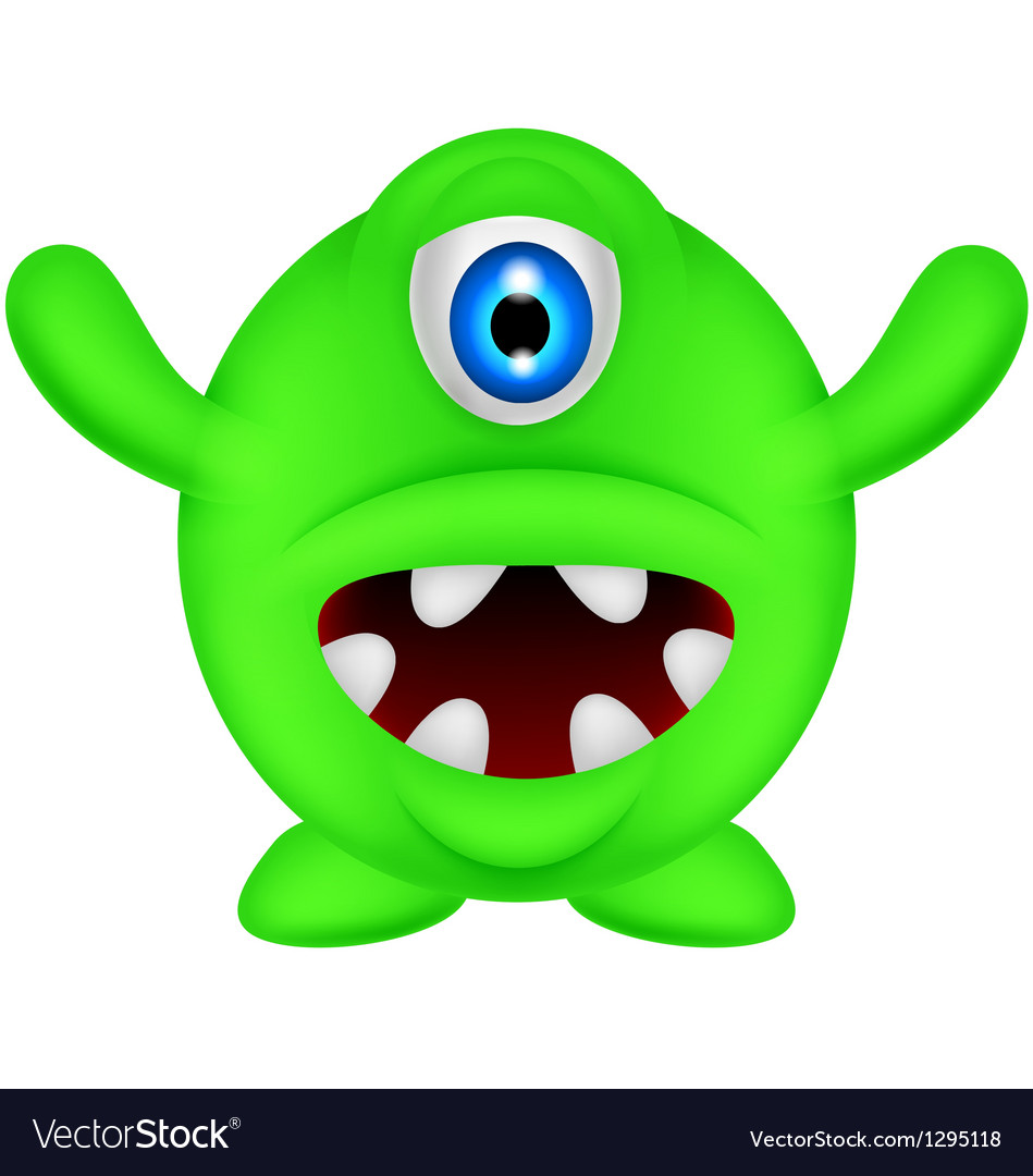 Funny green monster vector