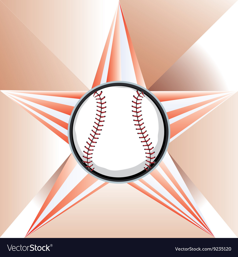 Baseball ball on background with rays