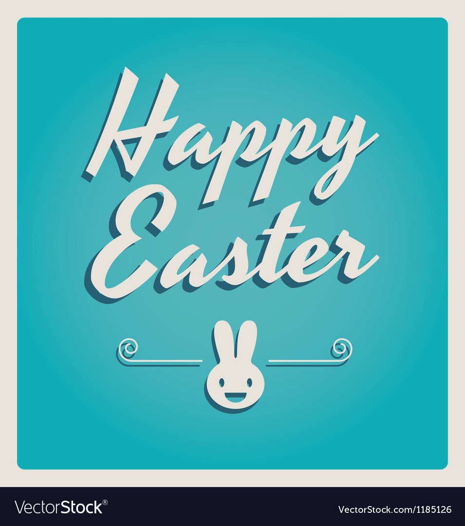 Happy easter cards retro type vector