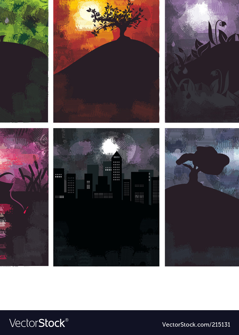 Grungy landscapes vector