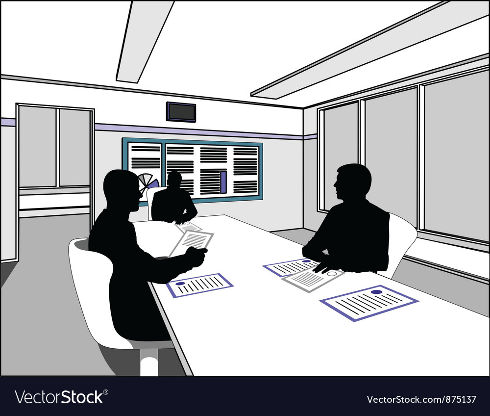 Three business people negotiate at the table vector