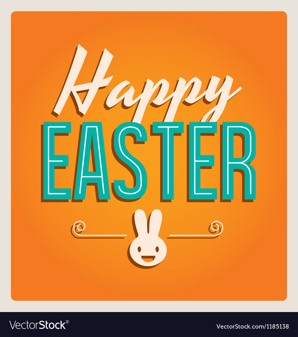 Happy easter cards font vintage retro and ornament vector