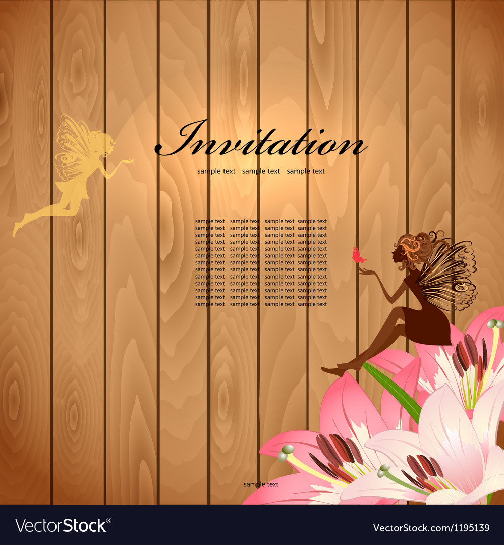 Retro fairy invitation card vector