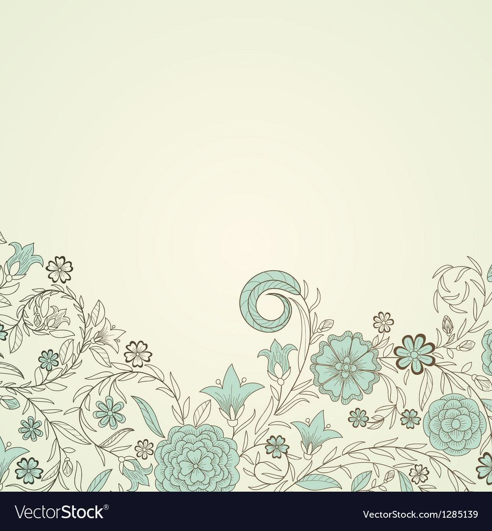 Vintage background with doodle flowers vector