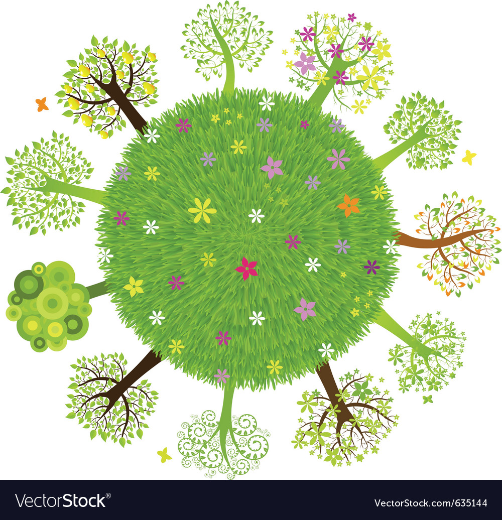 Eco planet with tree vector
