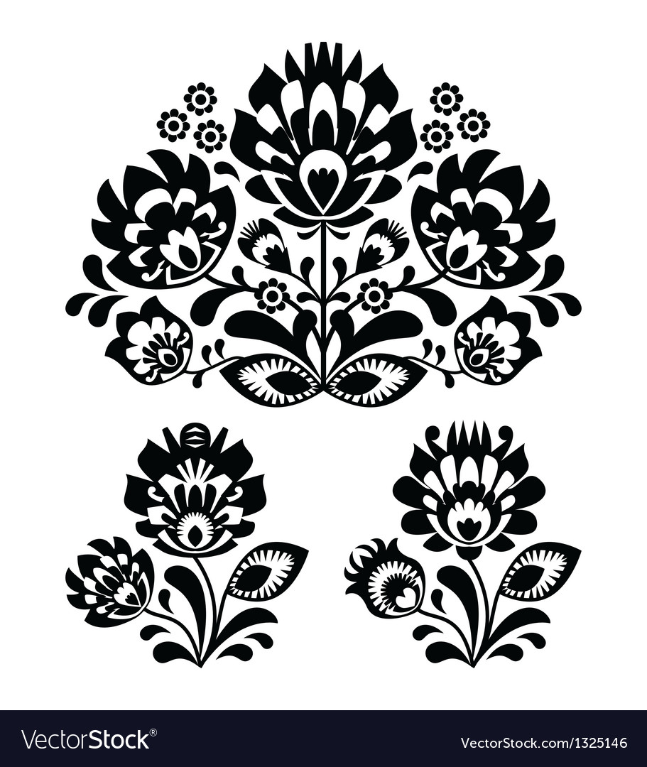 Folk embroidery  floral traditional pattern vector
