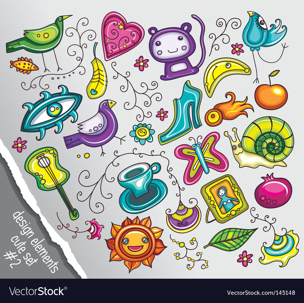 Doodle design elements vector