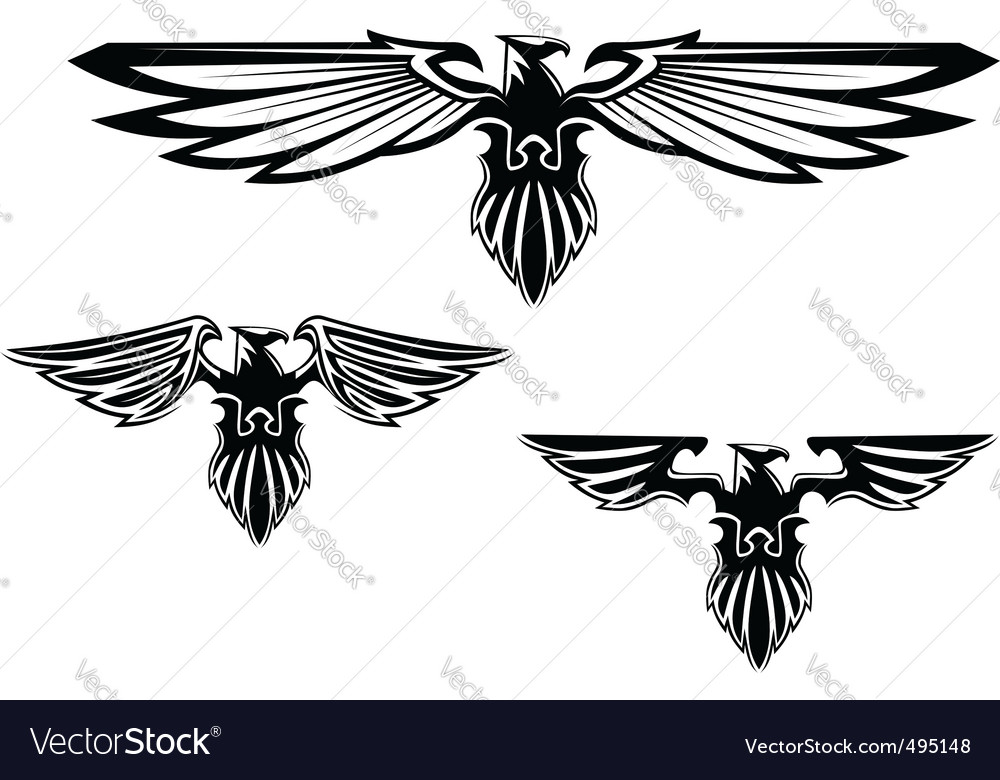 Heraldry eagle symbols and tattoo vector