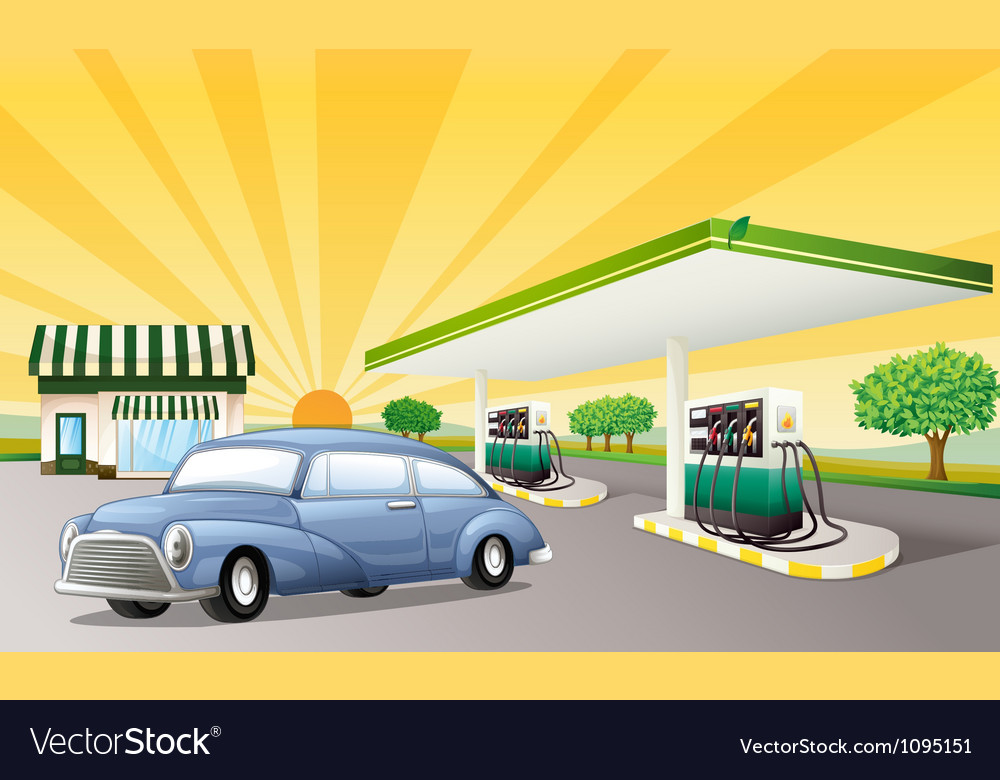 A house and gas station vector