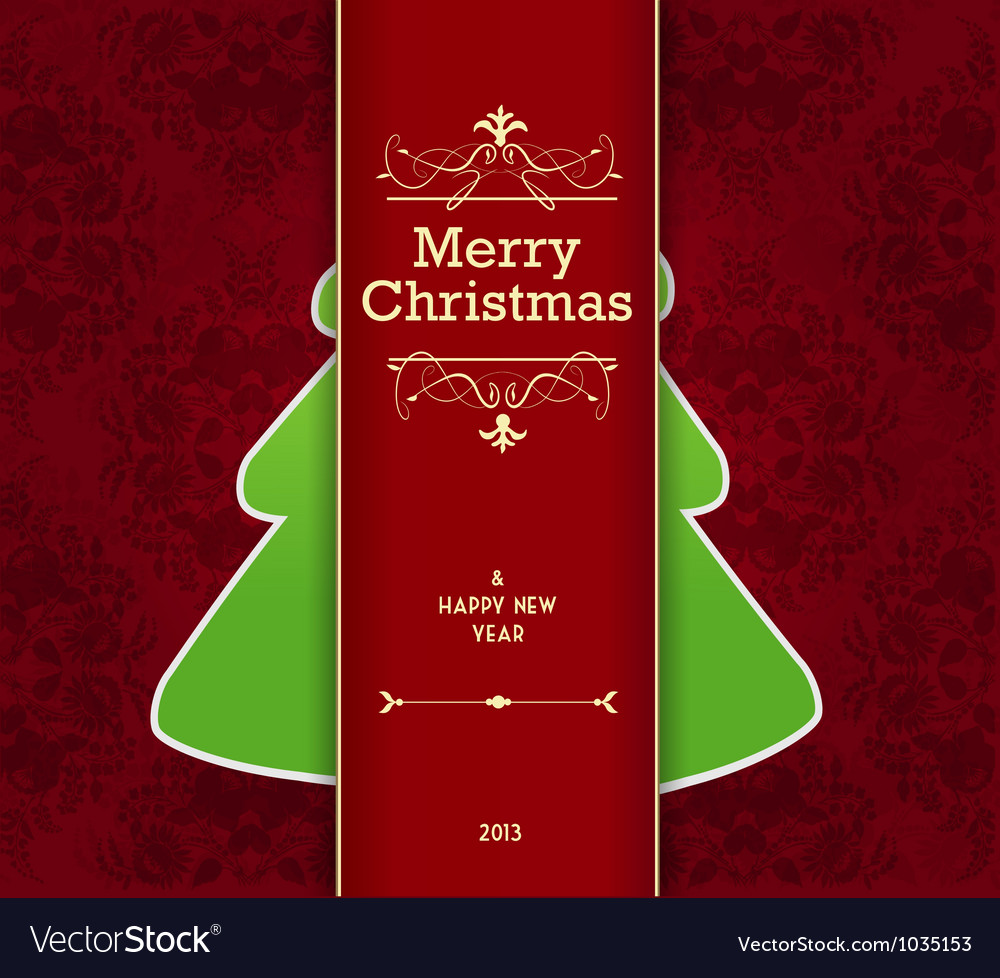 Christmas card with tree behind the stripe vector