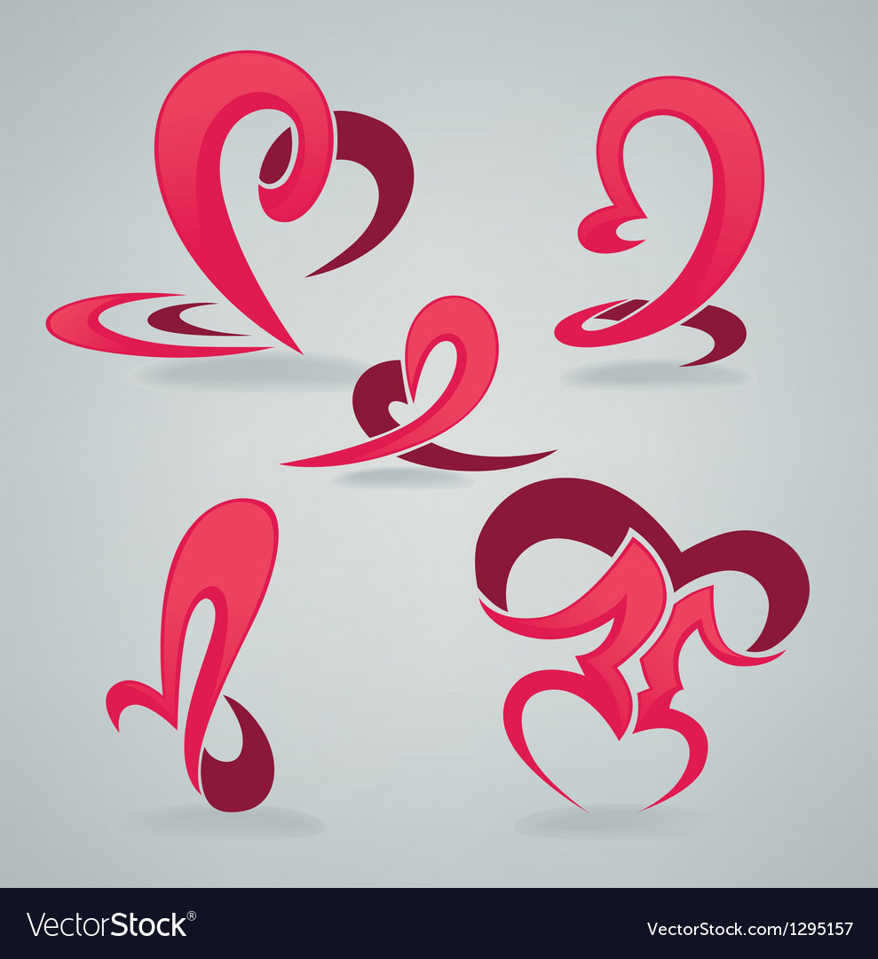 Hearts and kiss vector