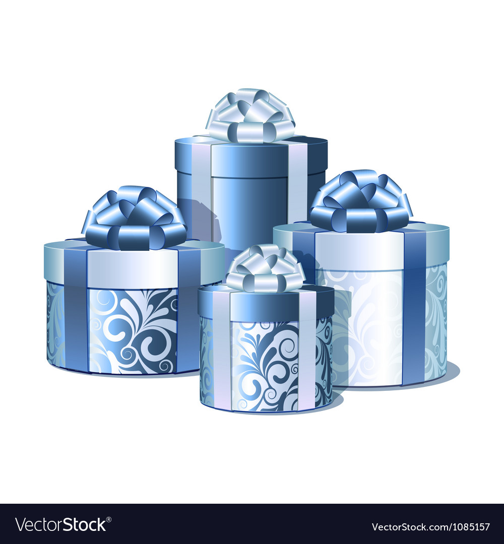 Silver and blue gift boxes vector