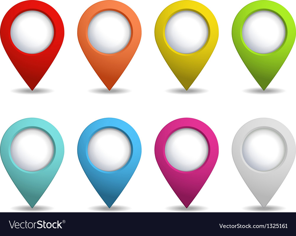 Set of bright map pointers vector