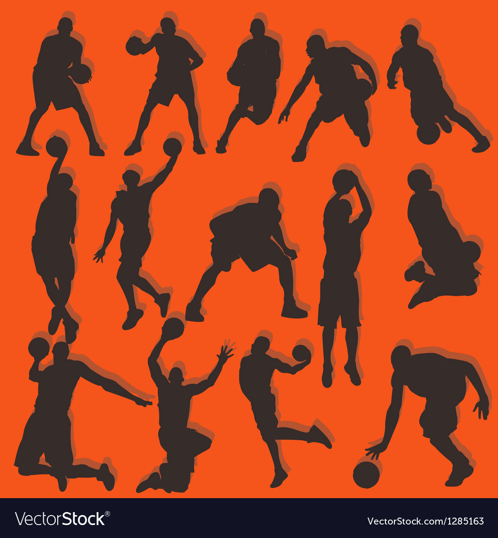 Basketball silhouette action collection set vector