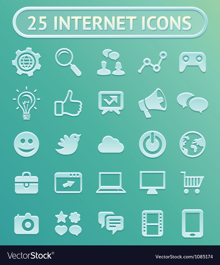 25 internet icons vector