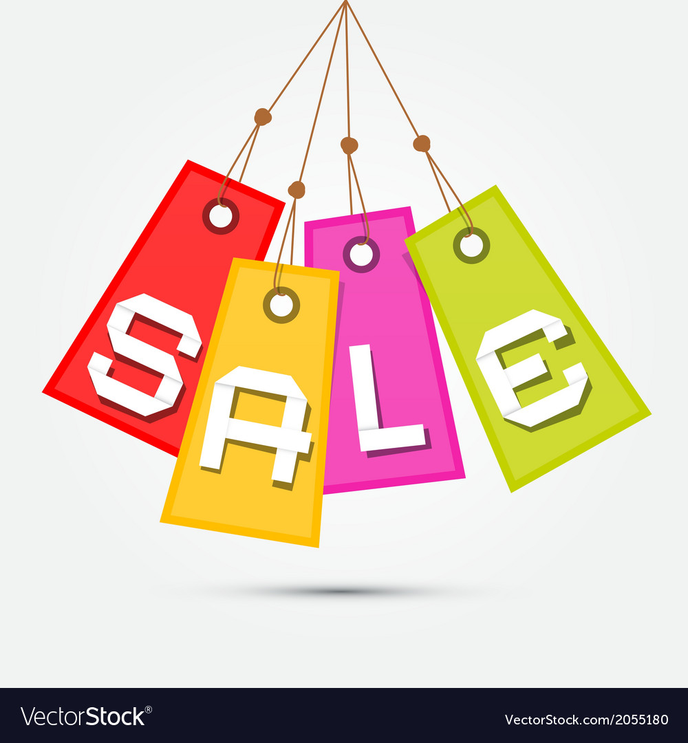 Colorful sale tags  labels hang on rope on grey vector