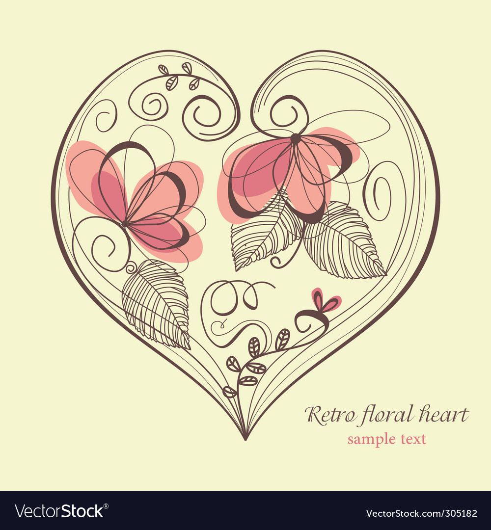 Retro floral heart vector