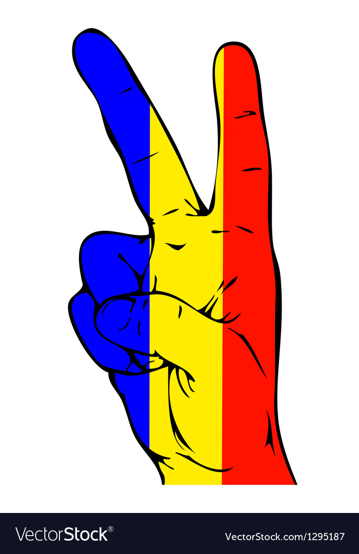 Peace sign of the romanian flag vector