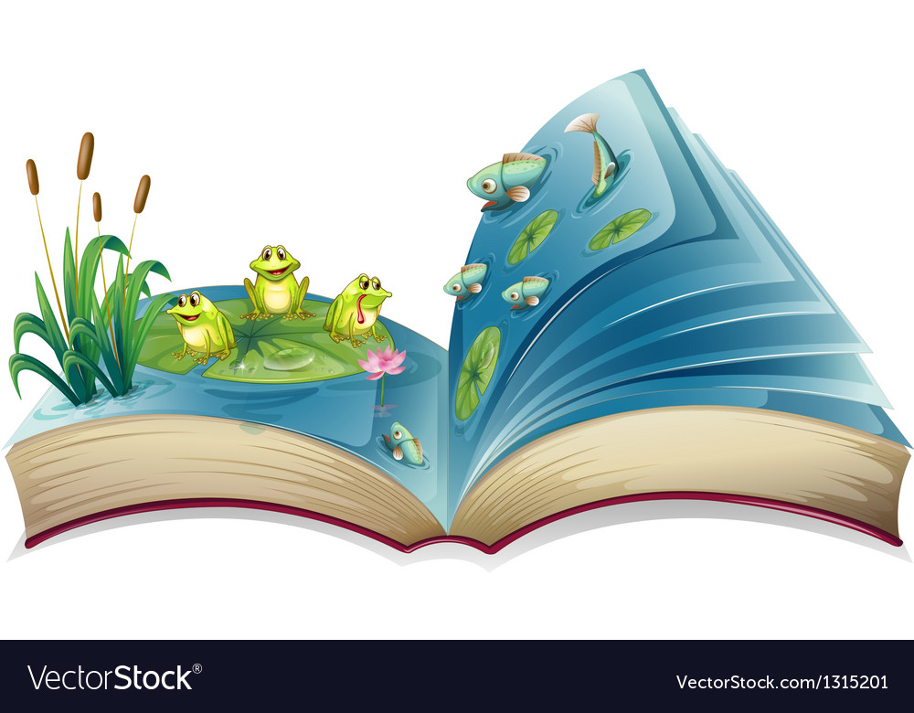 A book with an image of the frogs and fishes in vector