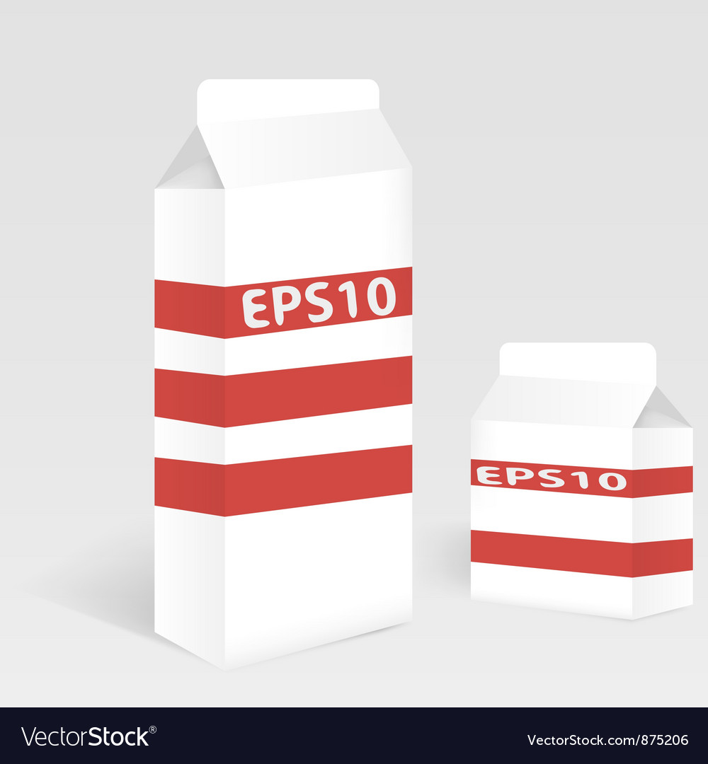 Two milk carton packages blank white version vector