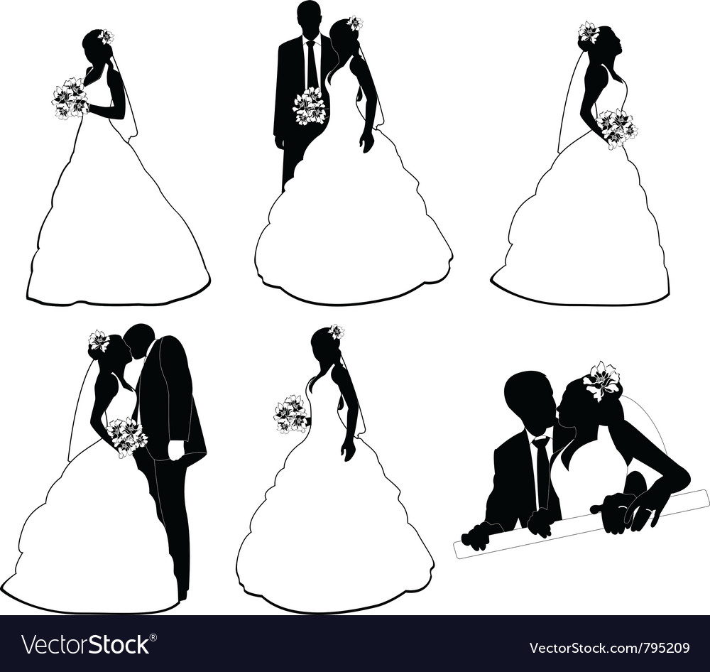 Wedding silhouettes vector