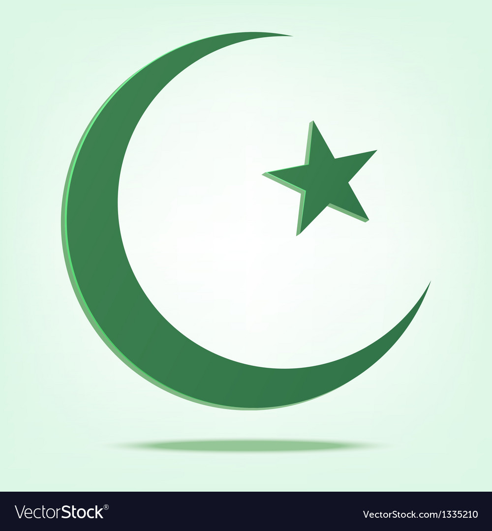 Green star and crescent vector