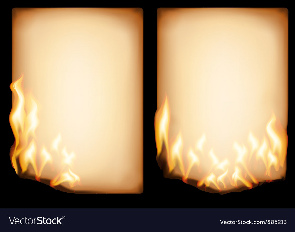 Old paper in fire vector