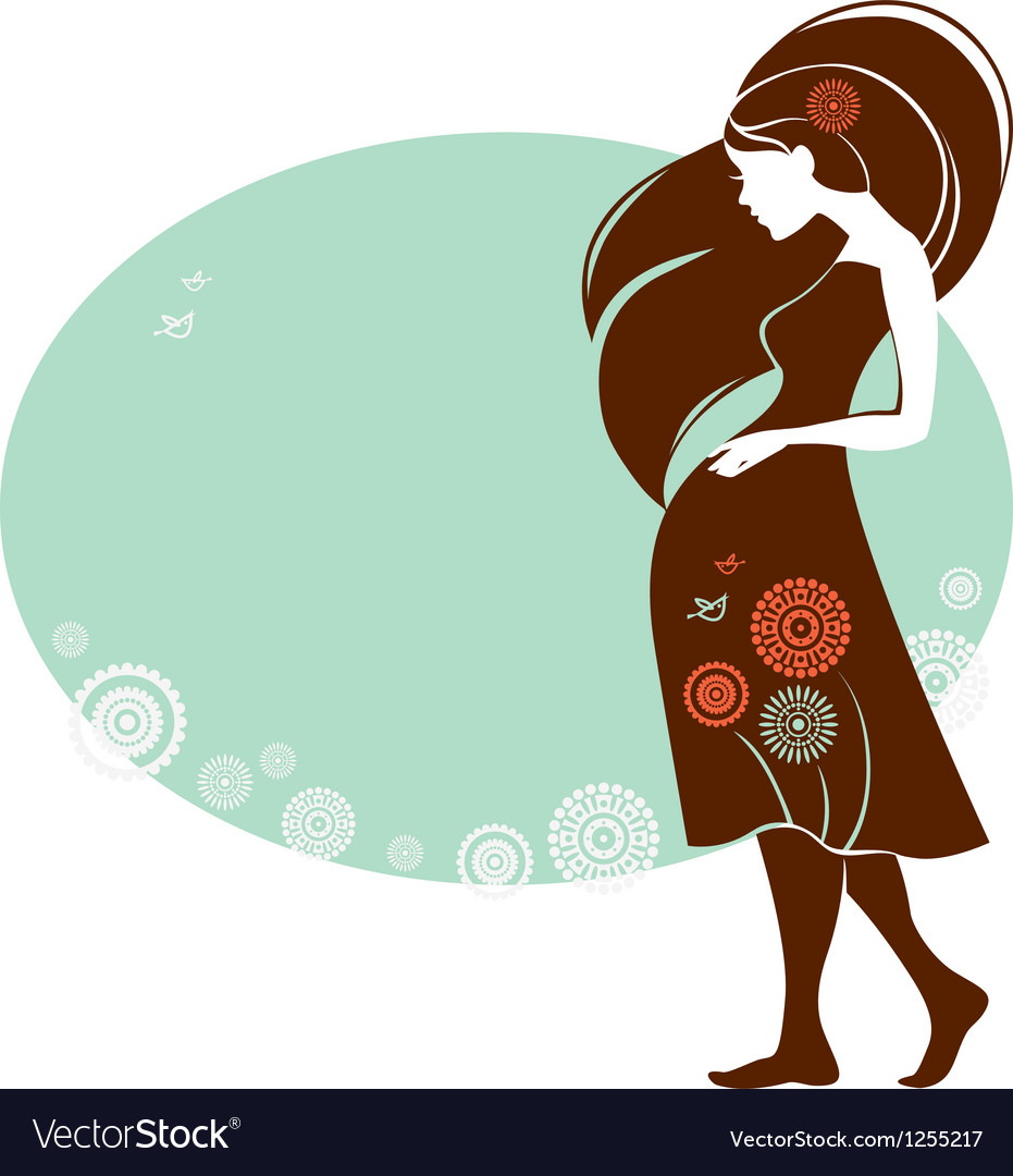Silhouette of pregnant woman vector